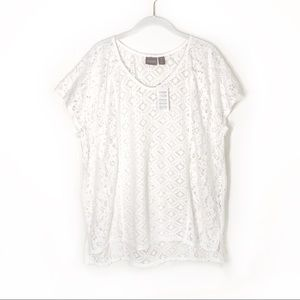Chico's Keelay Lace Blocked Top in Optic White NWT